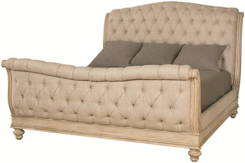 American Drew Jessica McClintock Home - The Boutique Collection King Sleigh Bed with Linen Tufted Headboard and Footboard