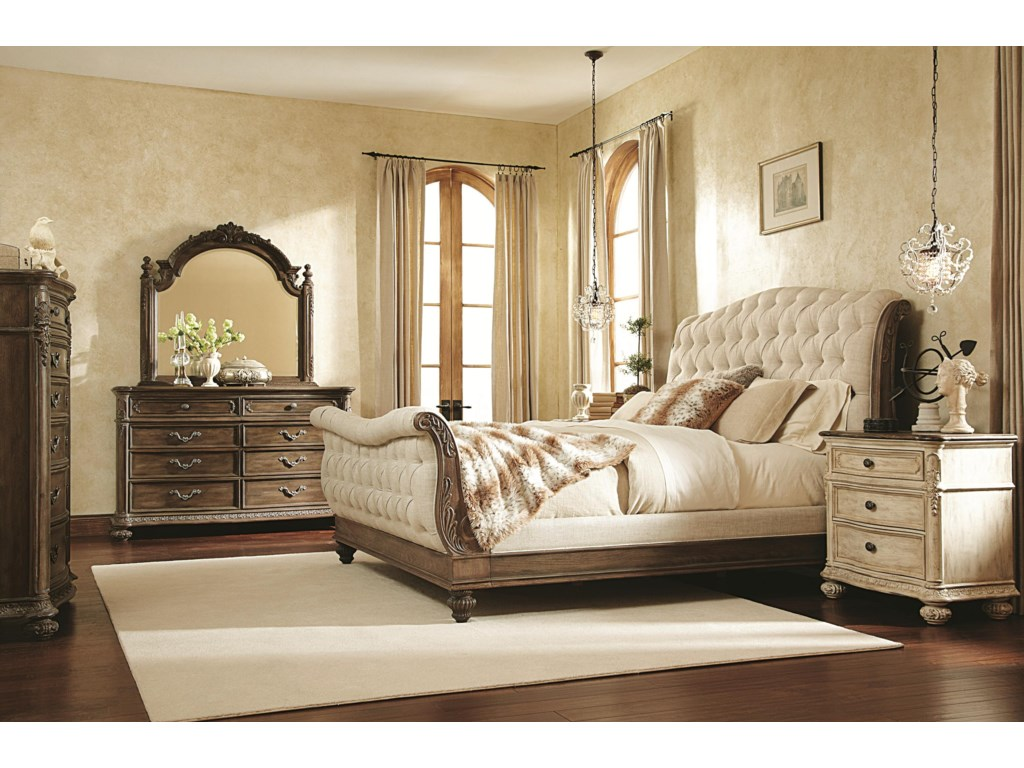 Shown with 8 Drawer Dresser, Landscape Mirror, Chest of Drawers and Sleigh Bed