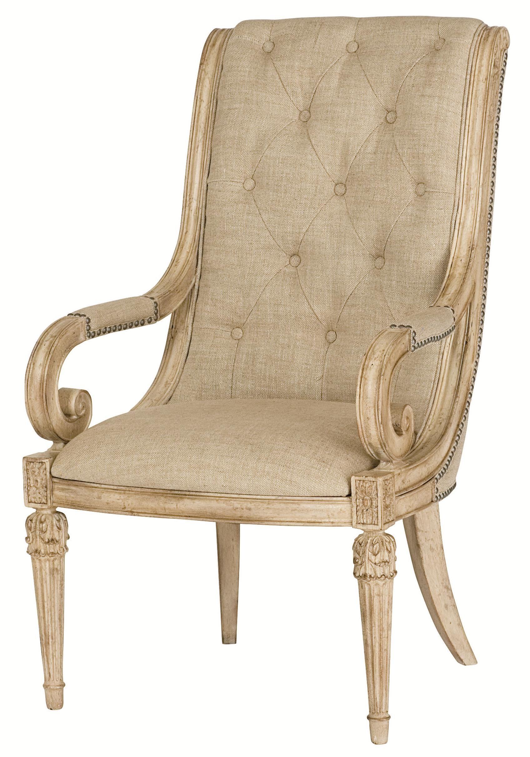 American Drew Jessica McClintock Home   The Boutique Collection Upholstered  Arm Chair With Upholstered Tufted Back