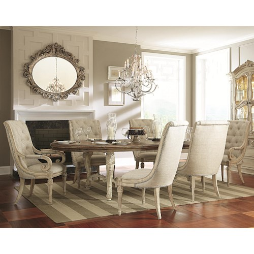 American Drew Jessica McClintock Home - The Boutique Collection 7 Piece Oval Dining Table with Upholstered Arm & Side Chairs