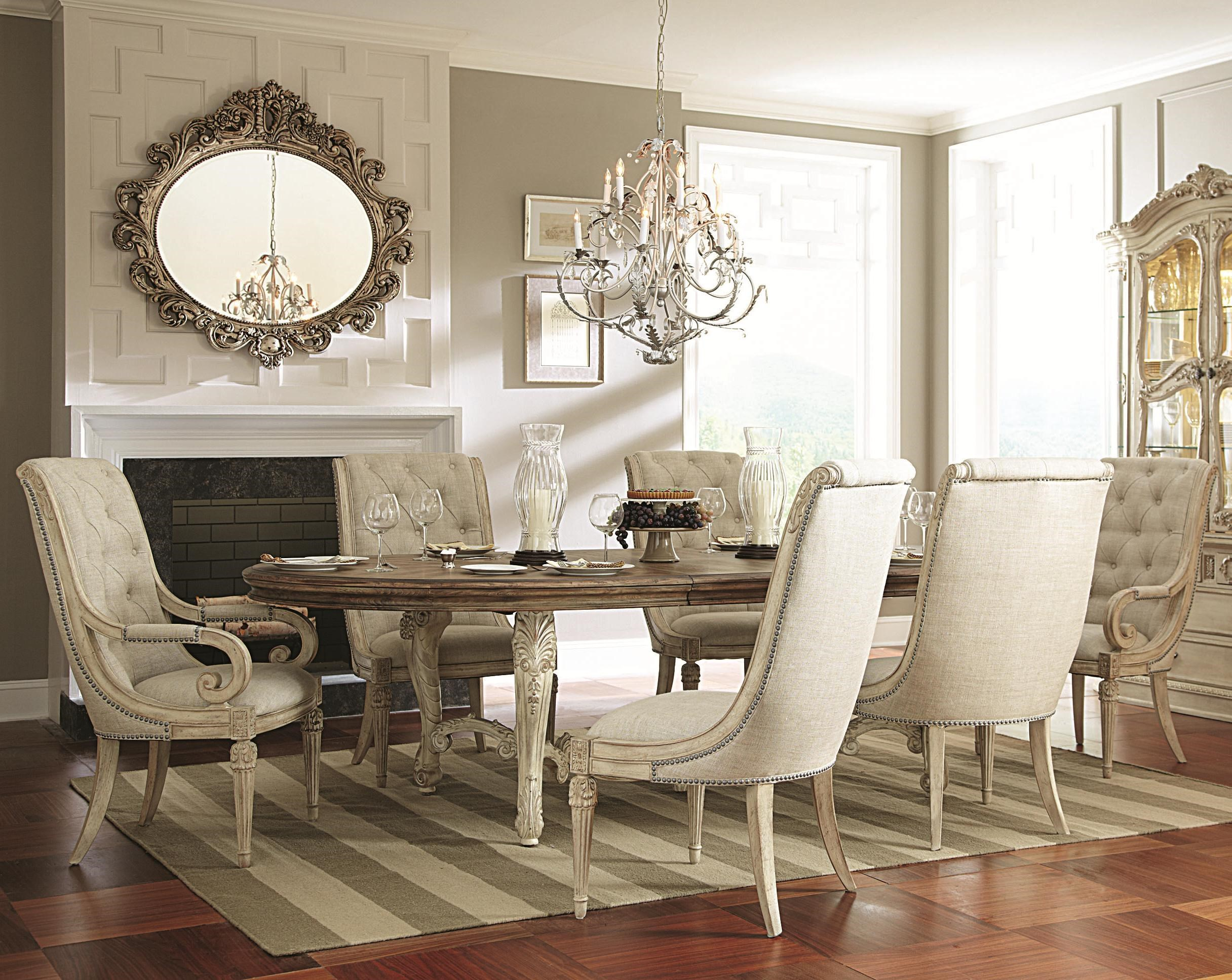 Jessica McClintock Home   The Boutique Collection 7 Piece Oval Dining Table  With Upholstered Arm U0026 Side Chairs By American Drew