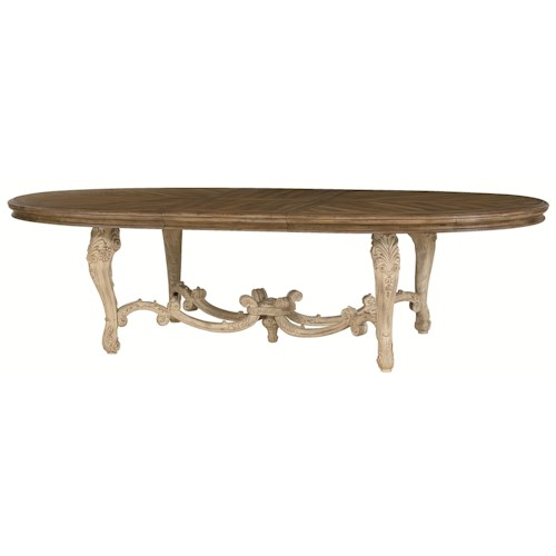 American Drew Jessica McClintock Home - The Boutique Collection Oval Dining Table with Carved Legs & Stretchers