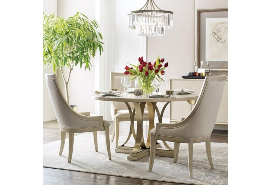 Living Trends Lenox 5 Piece Round Dining Table Set With Plaza Table And Chalon Upholstered Chairs Sprintz Furniture Dining 5 Piece Sets