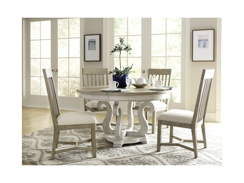 American Drew Litchfield Five Piece Round Table Chair Set Stoney