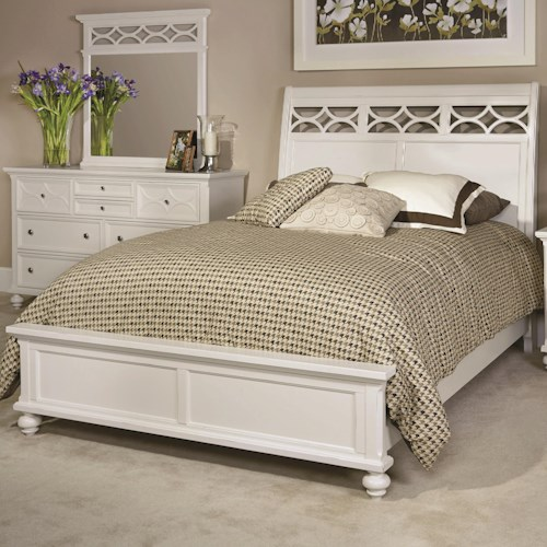 American Drew Lynn Haven Queen Sleigh Bed with Open Scroll Patterns