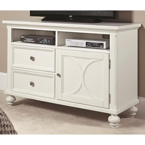 American Drew Lynn Haven 48-Inch Entertainment Center with 1 Door and 2 Drawers and 2 Open Spaces