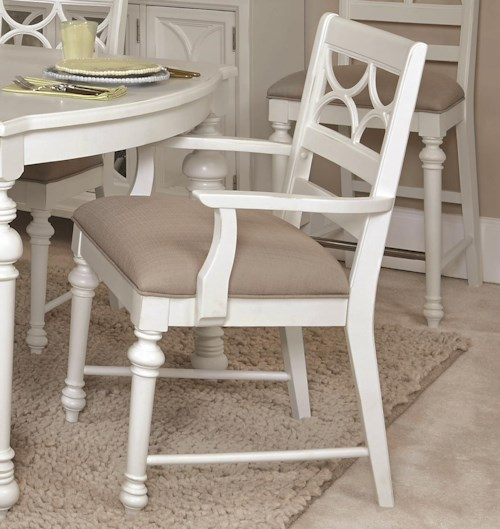 American Drew Lynn Haven Fret Work Dining Arm Chair with Upholstered Seat