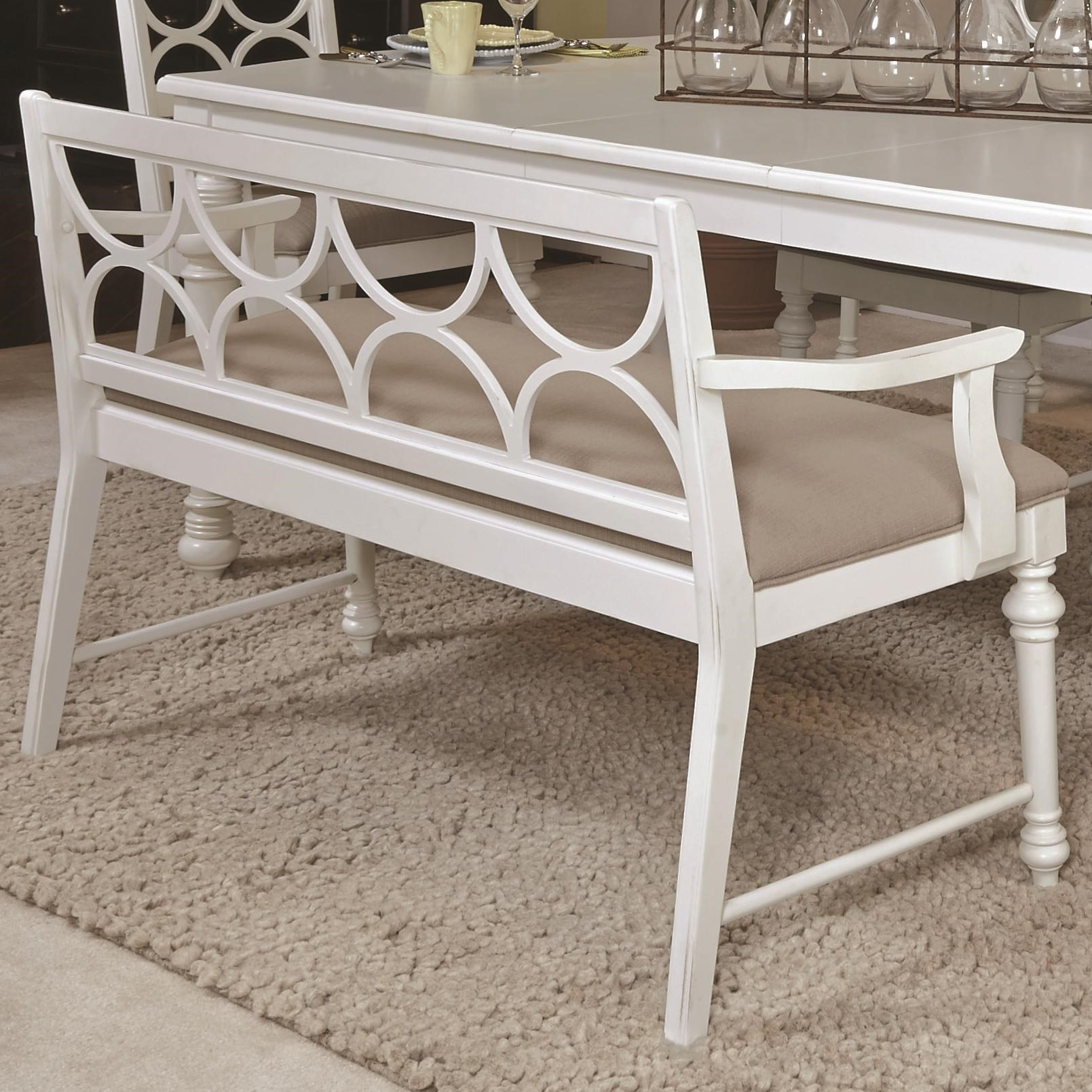 American Drew Lynn Haven Upholstered Dining Bench With Decorative Wood Back