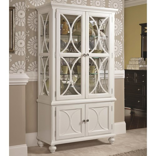American Drew Lynn Haven Curio China Cabinet with 4 Doors and 3 Shelves