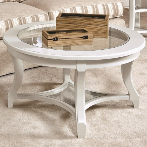 American Drew Lynn Haven Round Glass Cocktail Table with Lower Glass Shelf