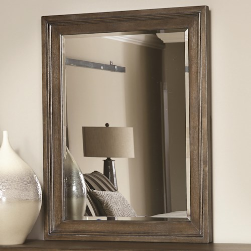 American Drew Park Studio Rectangular Landscape Mirror with Wooden Frame and Supports
