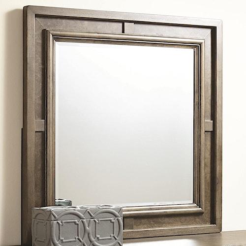 American Drew Park Studio Square Beveled Mirror with Ash Burl Border