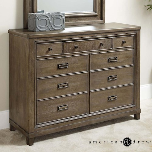 American Drew Park Studio Contemporary 9-Drawer Dresser with Drop Top Center Drawer with Media Storage