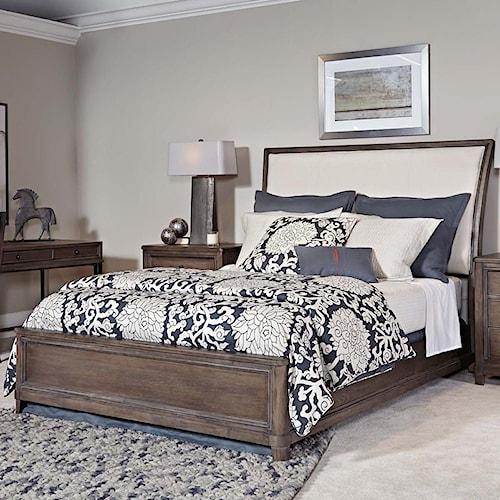 American Drew Park Studio Queen Sleigh Bed with Upholstered Headboard