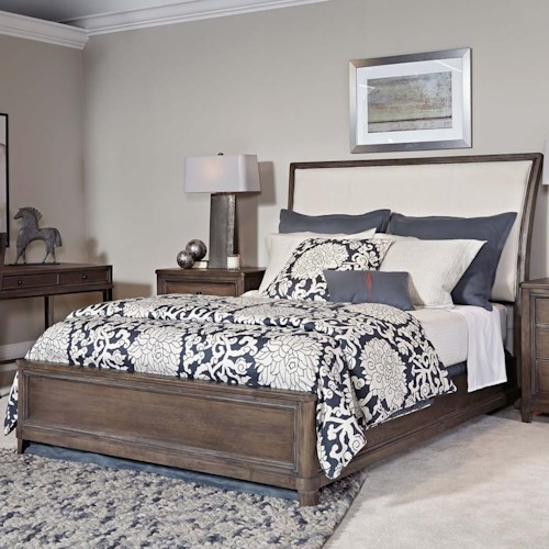 American Drew Park Studio King Sleigh Bed with Upholstered Headboard