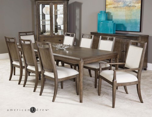 American Drew Park Studio Contemporary 9 Piece Dining Room Table Set With Upholstered Chairs