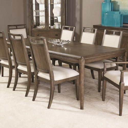 American Drew Park Studio Contemporary Rectangular Dining Table with Block Legs and Extension Leaf