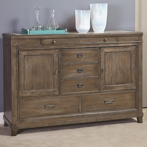 American Drew Park Studio Contemporary Dining Buffet with 2 Doors, 5 Drawers and Inset Stone Top