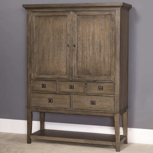 American Drew Park Studio Contemporary Bar Cabinet with 2 Doors and 5 Drawers and a Mirrored Back