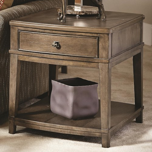 American Drew Park Studio Contemporary Rectangular End Table with 1 Drawer and 1 Lower Shelf