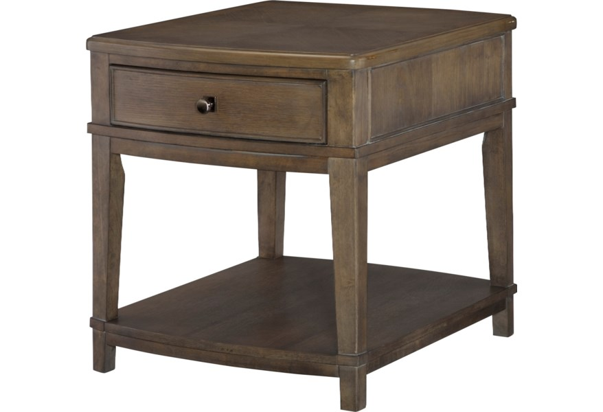 Living Trends Park Studio Contemporary Rectangular End Table With 1 Drawer And 1 Lower Shelf Sprintz Furniture End Tables