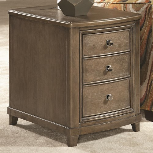 American Drew Park Studio Chairside Table with 3 Drawers and Electric Charging Outlet in Flip Top Area
