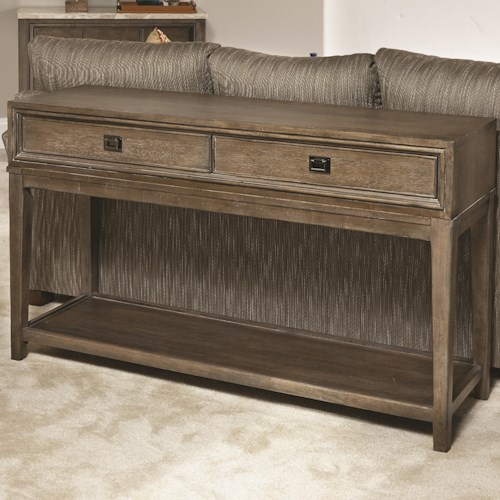 American Drew Park Studio Contemporary Rectangular Console Table with 2 Drawers and Lower Shelf