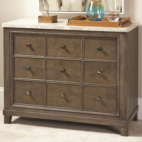 American Drew Park Studio Stone Topped Apothecary Hall Chest with 3 Drawers and Stone Top
