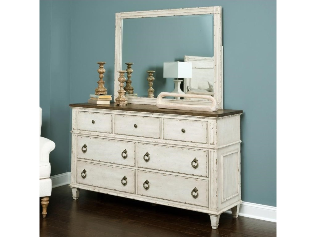 American Drew SOUTHBURY Dresser and Mirror with Wood Frame