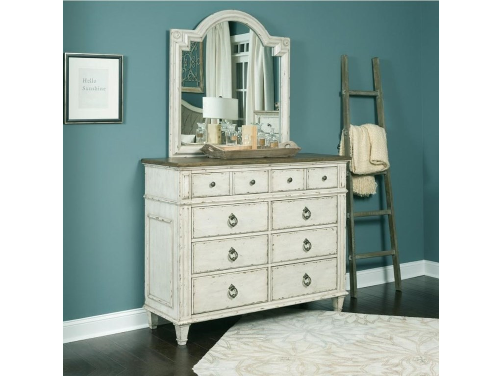 American Drew SOUTHBURY Bureau and Mirror with Wood Frame