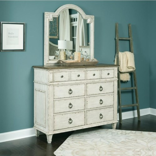 American Drew SOUTHBURY  8 Drawer Bureau and Mirror with Wood Frame
