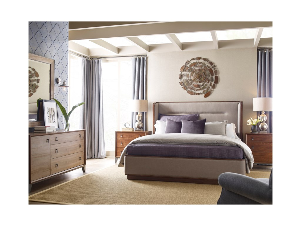 American Drew Modern SynergyQueen Upholstered Bedroom Group
