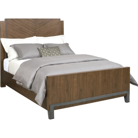 Chevron Walnut Queen Bed