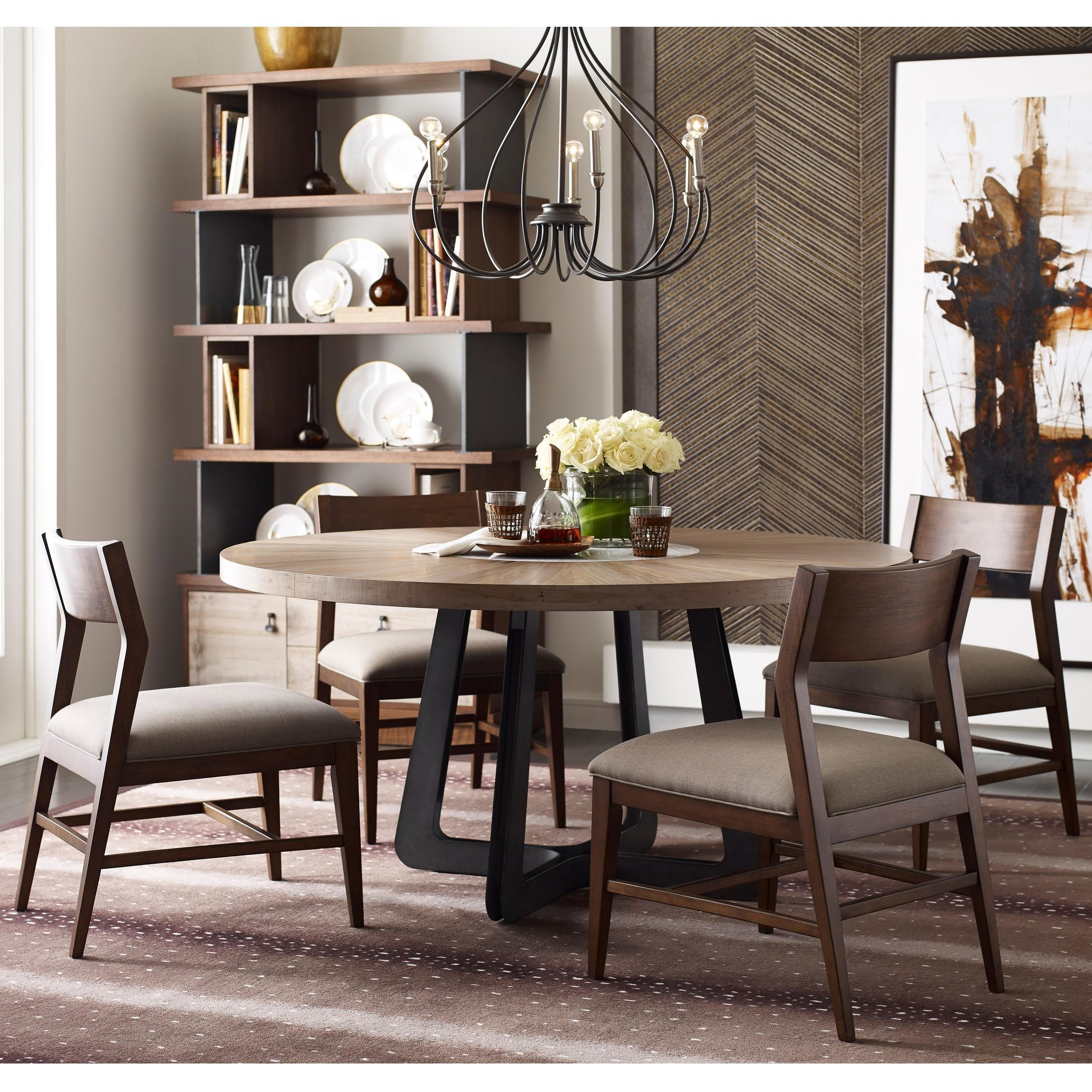 Picture of: American Drew Modern Synergy Contemporary Round Table And Chair Set Wayside Furniture Dining 5 Piece Sets