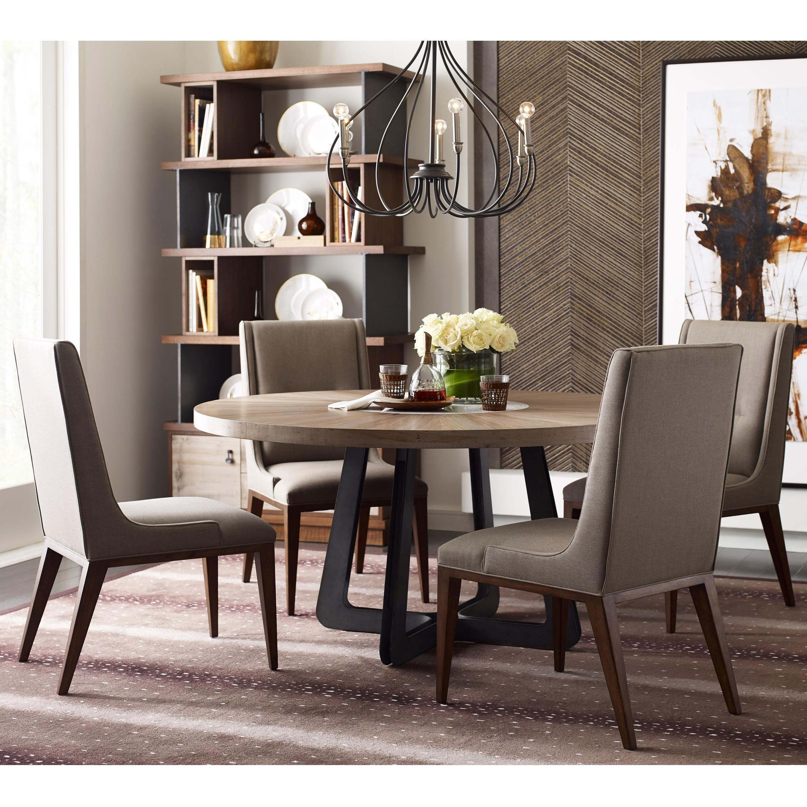 Contemporary Round Table and Chair Upholstered Set