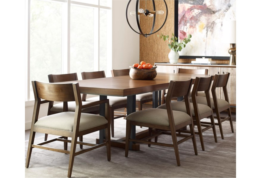 American Drew Modern Synergy Contemporary Rectangular Dining Table And Chair Set With Walnut Veneer Tabletop Value City Furniture Dining 7 Or More Piece Sets