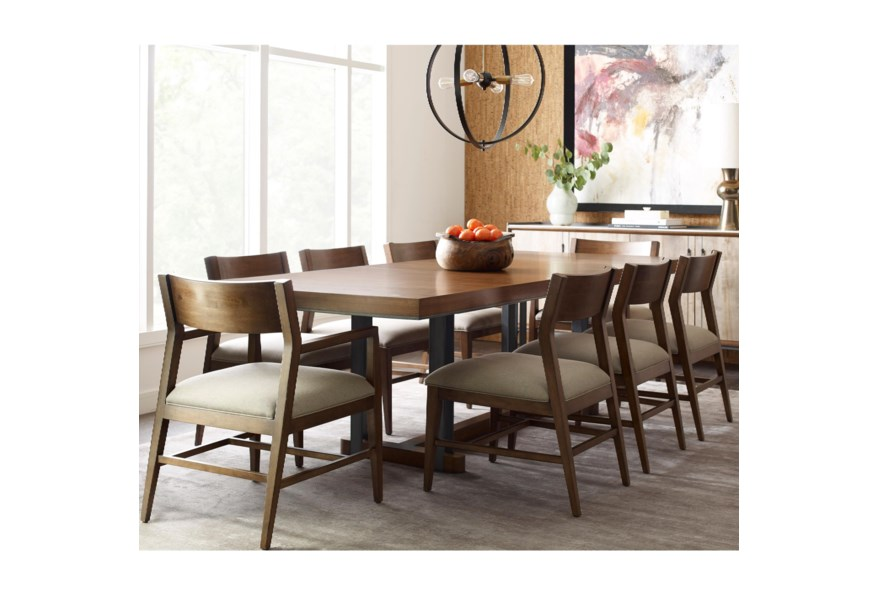 American Drew Modern Synergy Contemporary Rectangular Dining Table And Chair Set With Walnut Veneer Tabletop Stoney Creek Furniture Dining 7 Or More Piece Sets