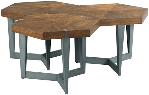 American Drew Modern Synergy Contemporary Echo Bunching Cocktail Table with Figured Walnut Veneers
