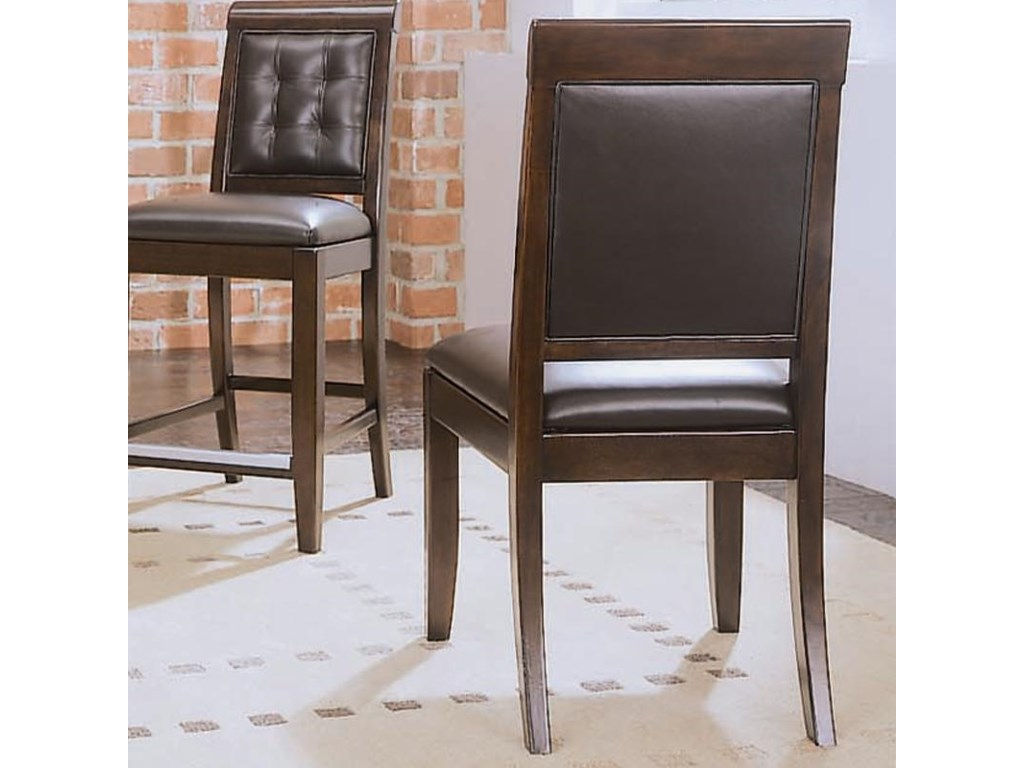 Sidechair features leather upholstery on back