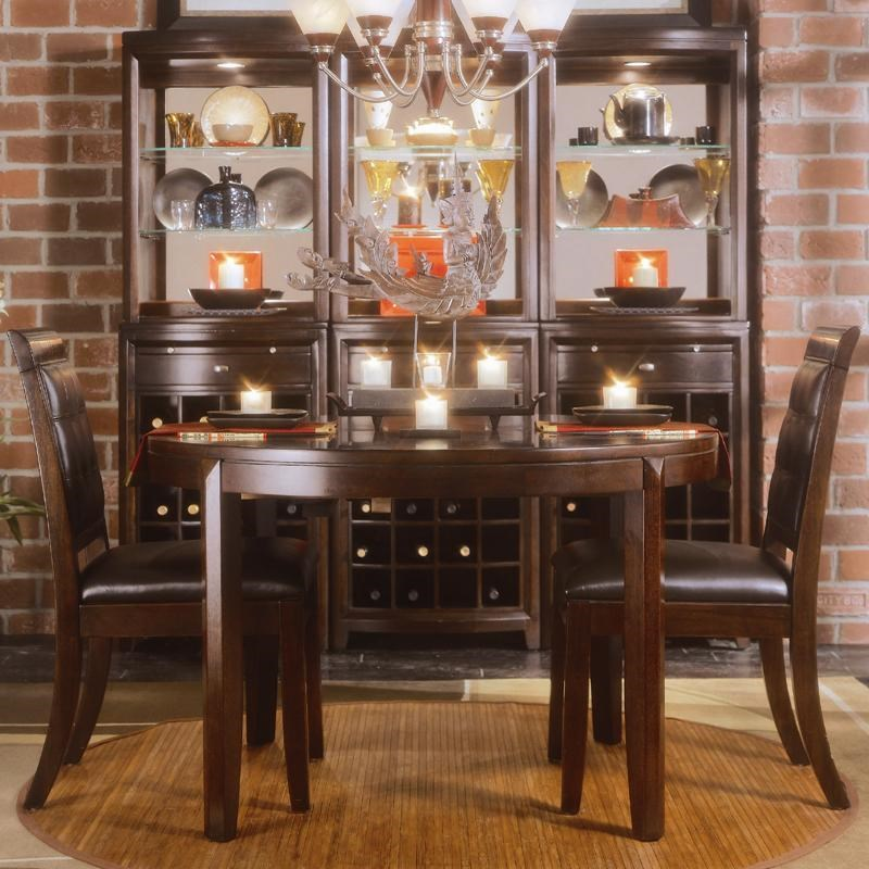American Drew Tribecca3 Piece Round Leg Table U0026 Leather Chair Set
