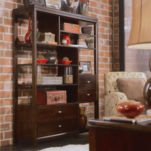 American Drew Tribecca 912 939 Etagere Northeast Factory Direct Bookcase 2 Pc With Hutch