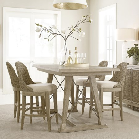5 Piece Dining Set with Woven Stools