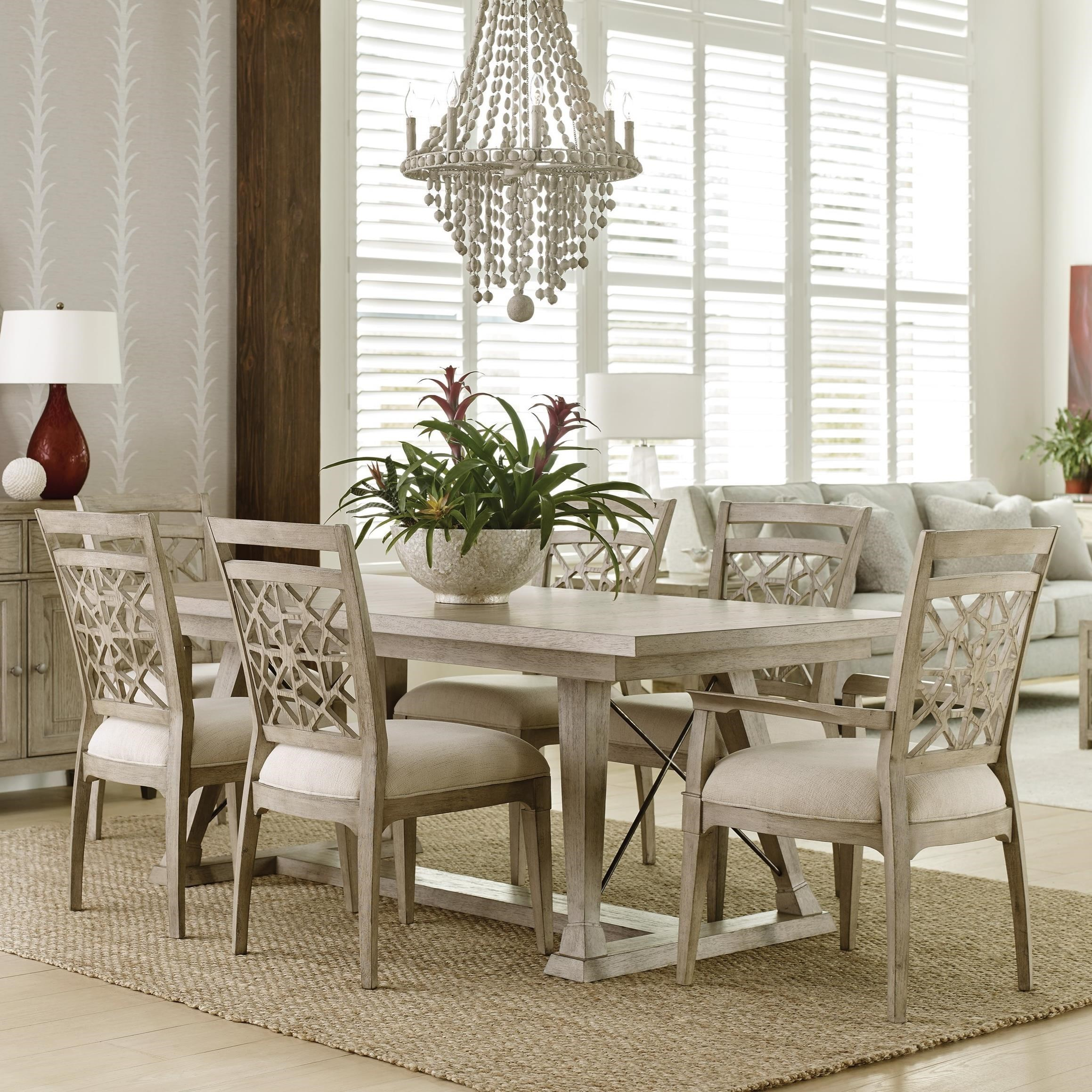 7 piece dining set with leaf arm chair american drew vista7 piece dining set with removable leaves vista relaxed vintage