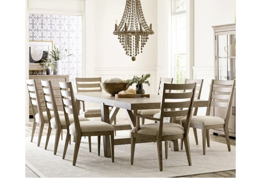 American Drew West Fork Farmhouse 9 Piece Table And Chair Set With Removable Leaf Lindy S Furniture Company Dining 7 Or More Piece Sets