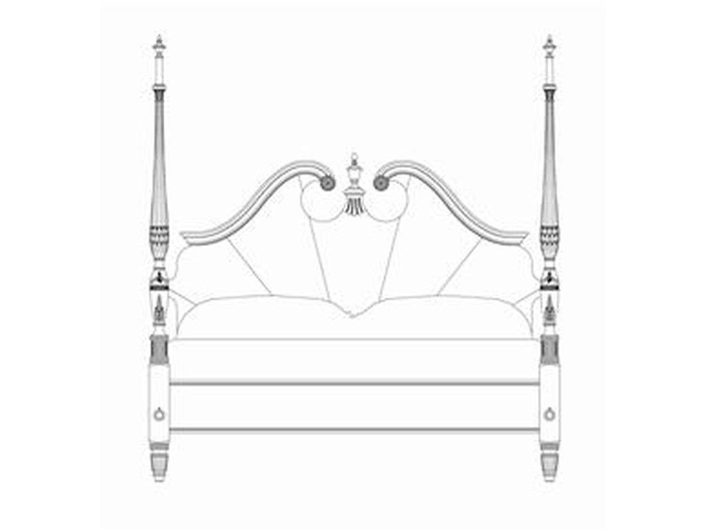 American Drew Cherry Grove 45thKing Pediment Poster Bed
