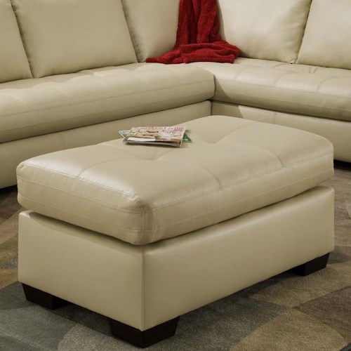 American Furniture 1230 Contemporary Ottoman in Rectangle Shape
