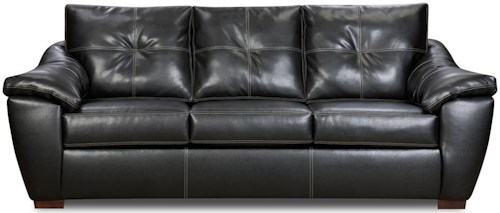 American Furniture 1250 Sofa with Pillowed Arms and Exposed Wood Feet