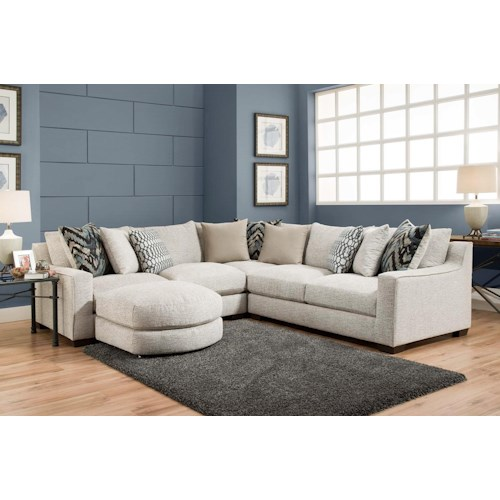 American Furniture 1400 Sectional Sofa with Four Seats and Chaise