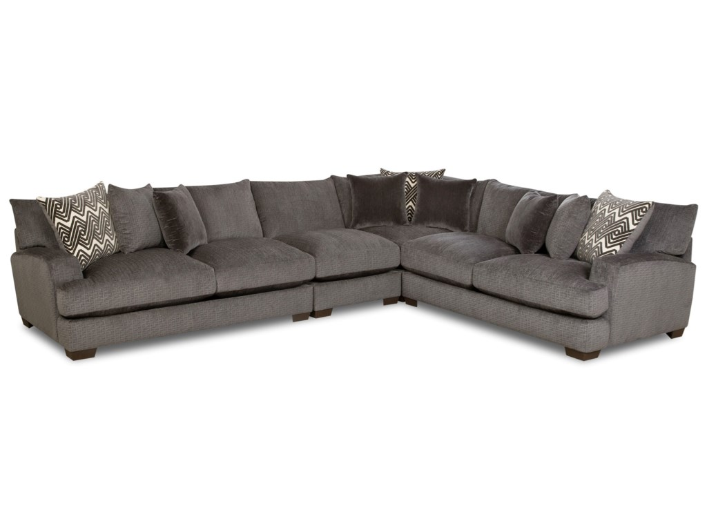 American Furniture 1600 Contemporary 5 Seat Sectional with Gel ...