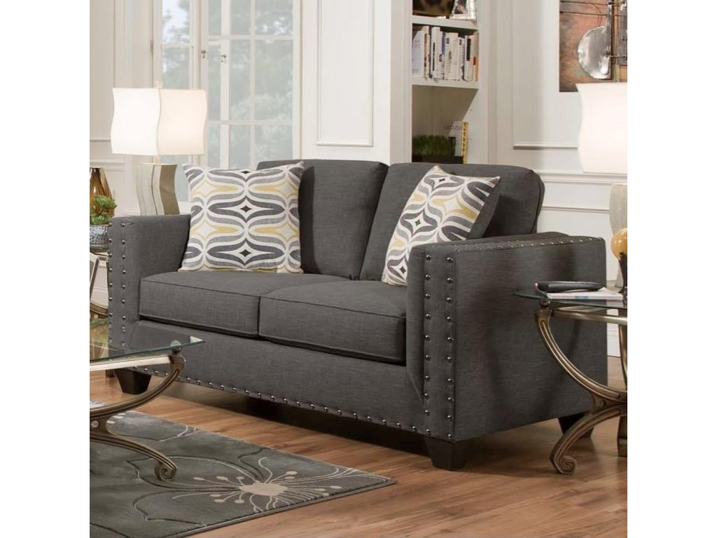 American Contemporary Furniture American Furniture Paradigm Smoke Contemporary Loveseat Great